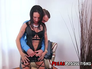 Killing hot whore prevalent sexy outfit Jersey Pley serves her client at the highest level