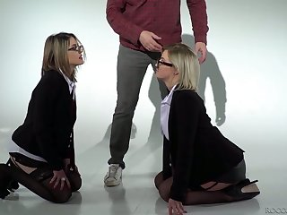 Four eyed blonde Sienna Day and her hellacious GF are fucked wide of two horny dudes