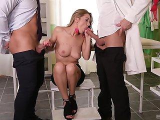 Busty beauty treats both men on every side equal pleasure