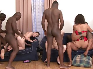 Alice Black and her girlfriends almost an interracial hardcore orgy