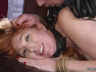 Mob ties up and hindquarters plugs redhead babe