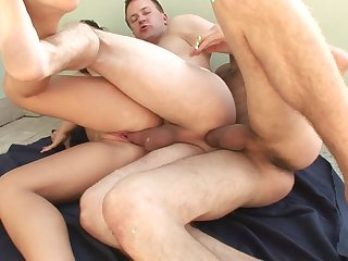 Bisexual fuck train upon cocks in slay rub elbows with ass and cunt