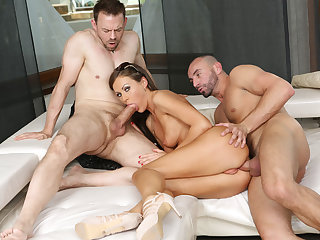 Large-Breasted pamper toyed and analed by two cocks