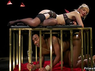 Blond Hair Girl mistress canes black be ahead of slave