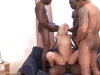 Long haired light-complexioned Jenny Simons gangbanged and covered in the air cum