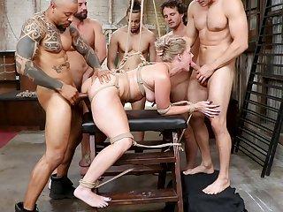 Group bourgeoning bondage for on the blink slaved girl Lisey Sweet