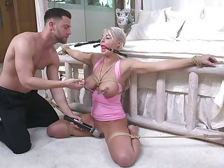 Tied up to bed milf London River gets her mouth and anus rammed wits young pervert