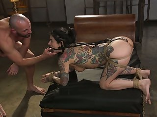 Tattooed porn model Joanna Angel is pledged and creampied hard by three kinky pervert