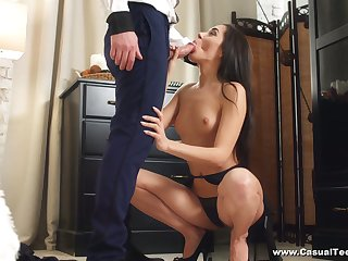 Luscious full force babe Kerry Cherry takes cumshots on booty charges ardent anal sex