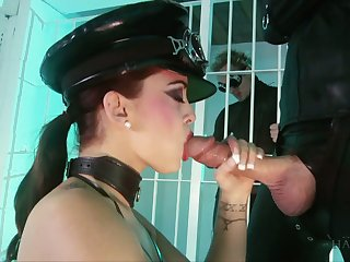 Smoking hot latex bitch Liza Del Sierra is fucked by two big dudes