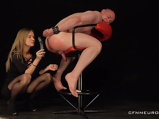 Male slave obeys her crooked sexual games and lust