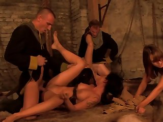 There is a full-blown orgy run on in this medieval room