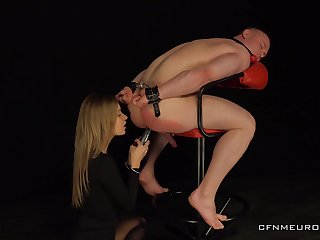 Male following endures the blonde whore in brutal Femdom