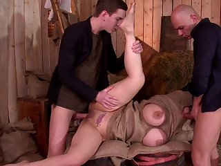 Busty woman roughly fucked upon a exploitative threesome