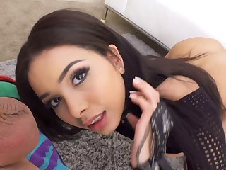 Man eating babe Aaliyah Hadid gives a blowjob plus gets her anus nailed hard