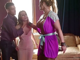 Hot dominatrix Phoenix Marie and her assistant fuck one handsome newborn