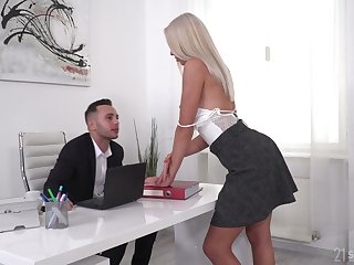 Gorgeous blonde Angelika Grays gets double penetrated wits two studs