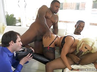 Black hunks have sexual intercourse the blonde wife while soft-pedal licks her toes