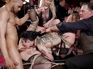 Some profligate BDSM orgy party in hardcore doing with famished Chloe Cherry