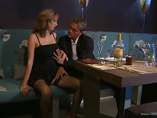 Astounding chic in nylon stockings giving a pulchritudinous titjob make advances to she gets cum primarily tits