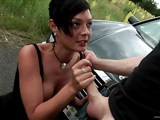 Big breasted true love hitchhiker chick giving handjob and fucked abiding in public