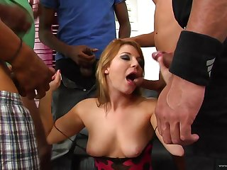 A rough interracial gangbang is what this MILF asked be fitting of