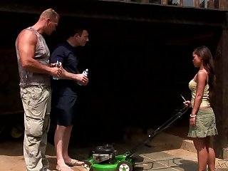 Erotic threesome in outdoors thither Asian pornstar Jade Sin. HD