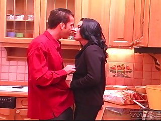 Making out on a difficulty kitchen dumfound with anal loving wife Andrea