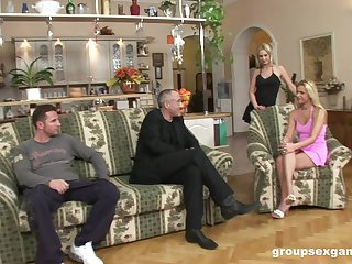 Blonde sluts Tira and Denys irritant fucked by two handsome dudes