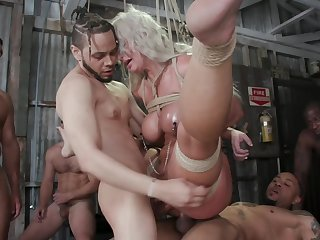 Blonde MILF is abducted with the addition of fucked by a gang of studs