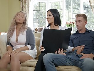 British milf Jasmine Jae gives her head and takes huge cock in wet yummy slit