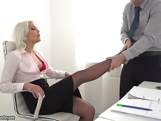 Two co-workers fuck anus and pussy of sex-appeal ladyboss Cecilia Scott
