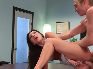 Asian hottie loves anal sexual congress after a hard day of deport oneself