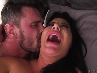 Ebony haired mother with big boobies is boinking a bland stud, instead of her shush