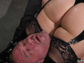 Old lady mistress in latex anal hardcore bangs slave