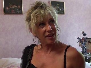 La Cochonne - Mature blonde French newbie gets cum unperceived