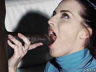 Redhead babe Lyen Parker gets a big black cock deep added to swallows cum